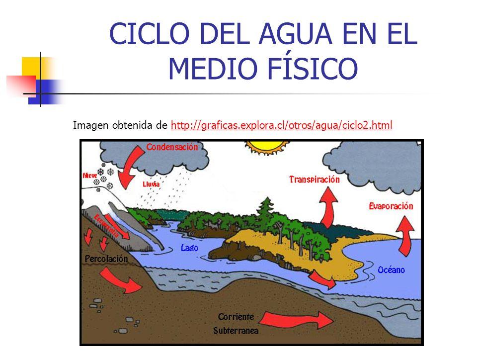 CICLO DEL AGUA EN EL MEDIO FÍSICO Imagen obtenida de http://graficas.explora.cl/otros/agua/ciclo2.htmlhttp://graficas.explora.cl/otros/agua/ciclo2.htm
