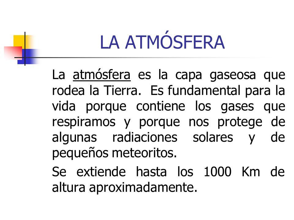 LA ATMÓSFERA La atmósfera es la capa gaseosa que rodea la Tierra. Es fundamental para la vida porque contiene los gases que respiramos y porque nos pr
