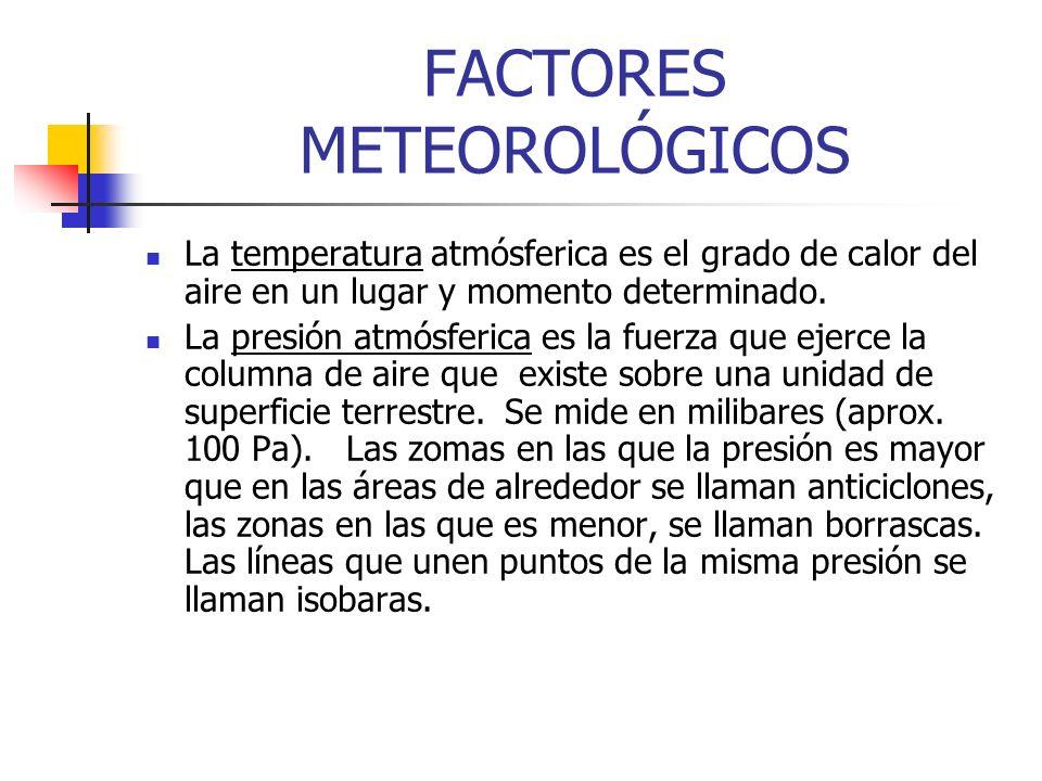 FACTORES METEOROLÓGICOS La temperatura atmósferica es el grado de calor del aire en un lugar y momento determinado. La presión atmósferica es la fuerz