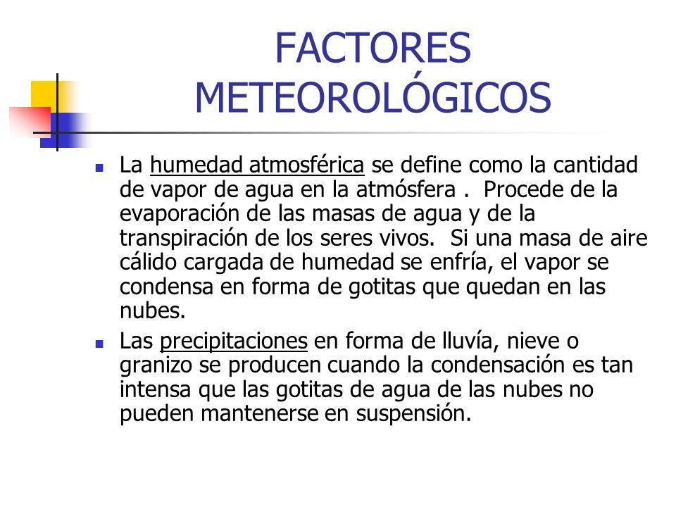 FACTORES METEOROLÓGICOS La humedad atmosférica se define como la cantidad de vapor de agua en la atmósfera. Procede de la evaporación de las masas de