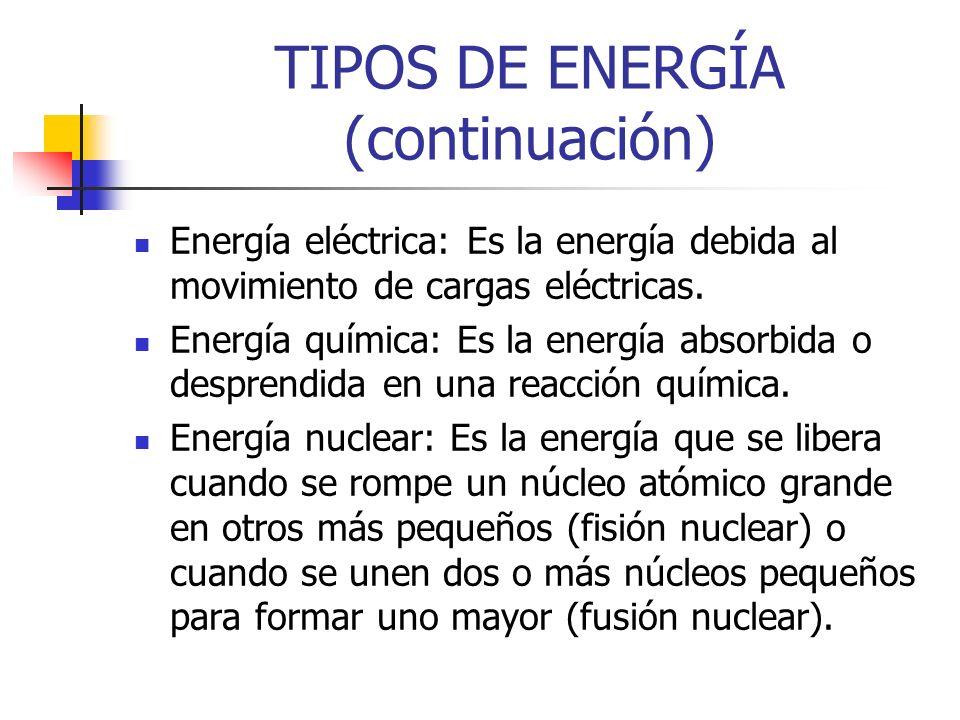 TIPOS DE ENERGÍA (continuación) Energía eléctrica: Es la energía debida al movimiento de cargas eléctricas.