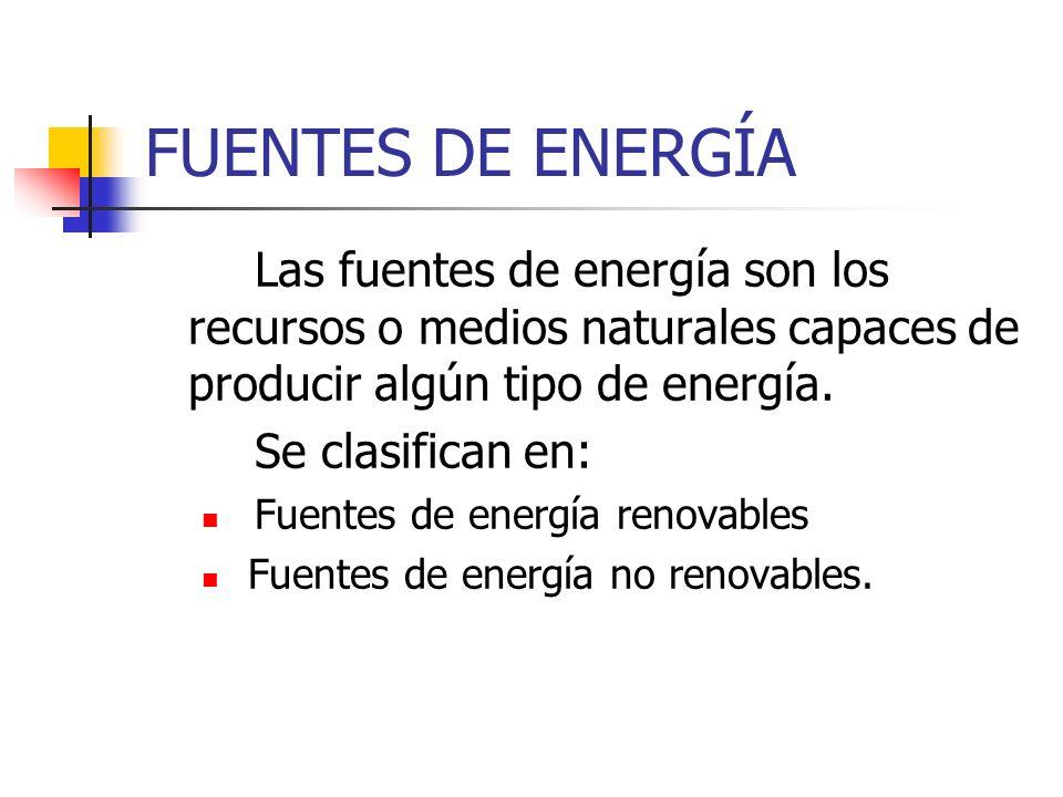 FUENTES DE ENERGÍA Las fuentes de energía son los recursos o medios naturales capaces de producir algún tipo de energía.