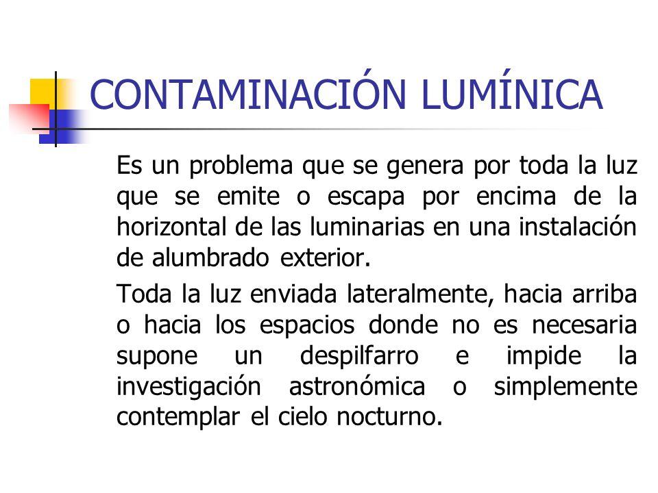 CONTAMINACIÓN LUMÍNICA Es un problema que se genera por toda la luz que se emite o escapa por encima de la horizontal de las luminarias en una instala