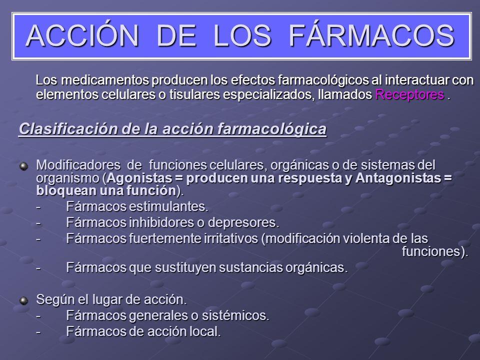 ACCIÓN DE LOS FÁRMACOS Los medicamentos producen los efectos farmacológicos al interactuar con elementos celulares o tisulares especializados, llamado