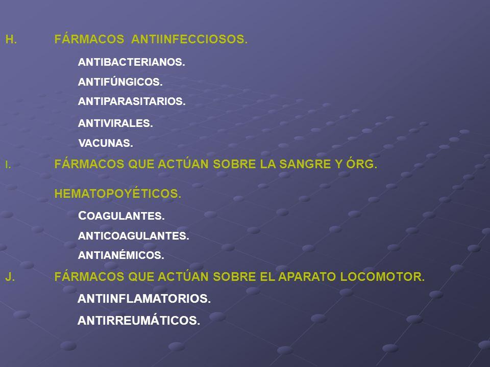 H.FÁRMACOS ANTIINFECCIOSOS. ANTIBACTERIANOS. ANTIFÚNGICOS. ANTIPARASITARIOS. ANTIVIRALES. VACUNAS. I. FÁRMACOS QUE ACTÚAN SOBRE LA SANGRE Y ÓRG. HEMAT