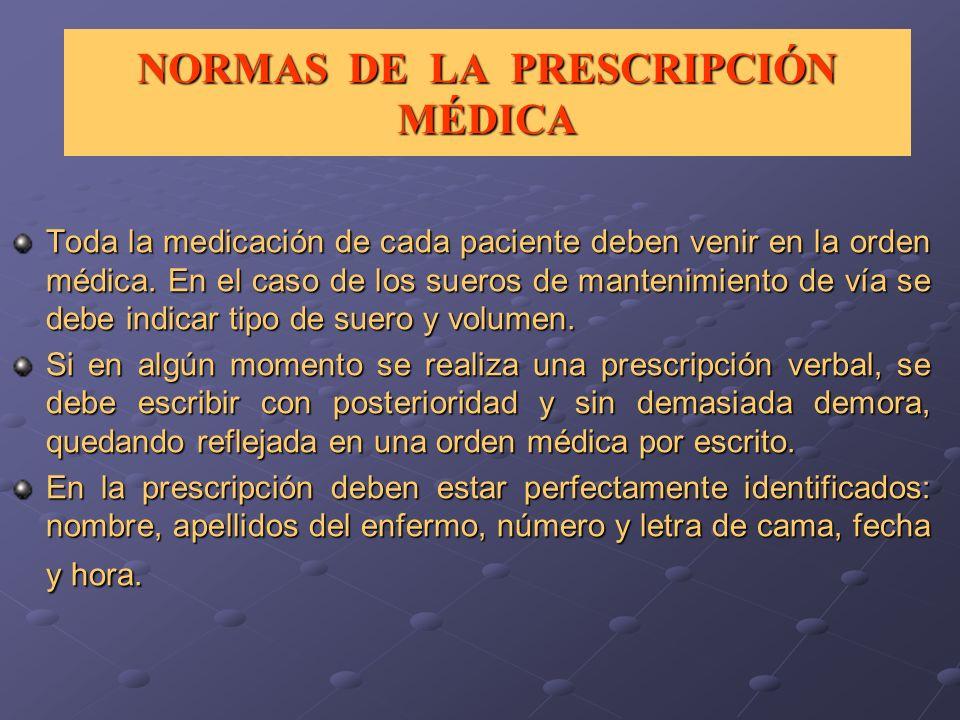 NORMAS DE LA PRESCRIPCIÓN MÉDICA Toda la medicación de cada paciente deben venir en la orden médica. En el caso de los sueros de mantenimiento de vía