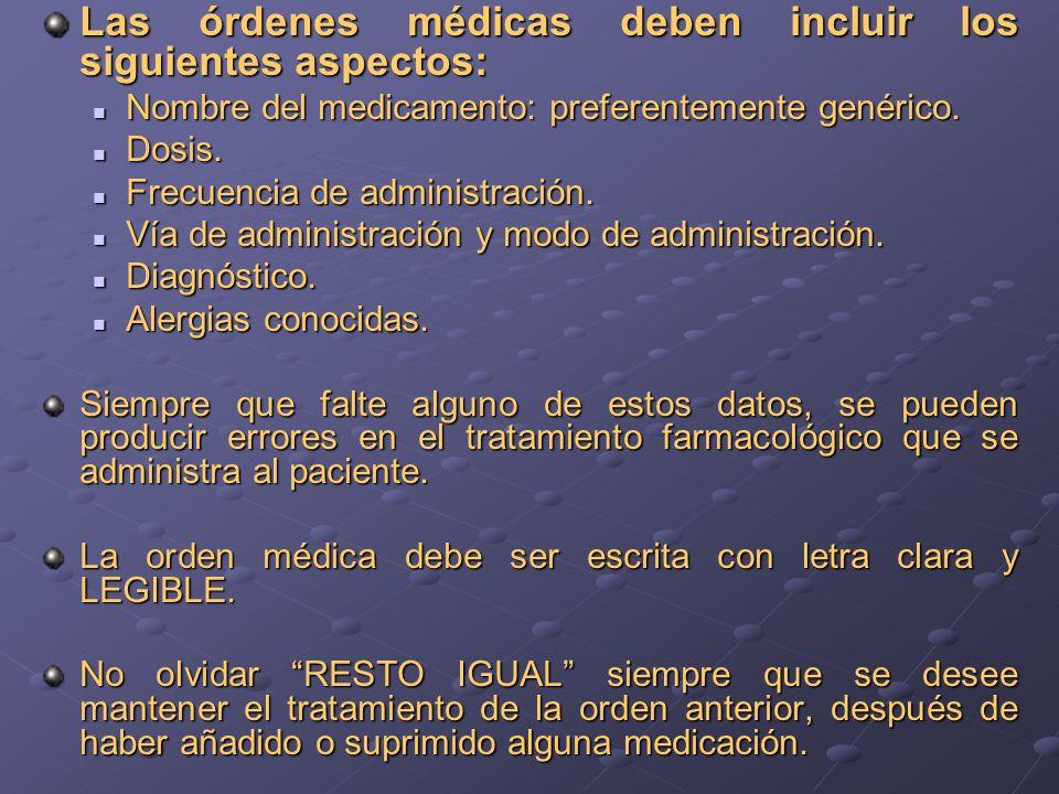 Las órdenes médicas deben incluir los siguientes aspectos: Nombre del medicamento: preferentemente genérico. Nombre del medicamento: preferentemente g