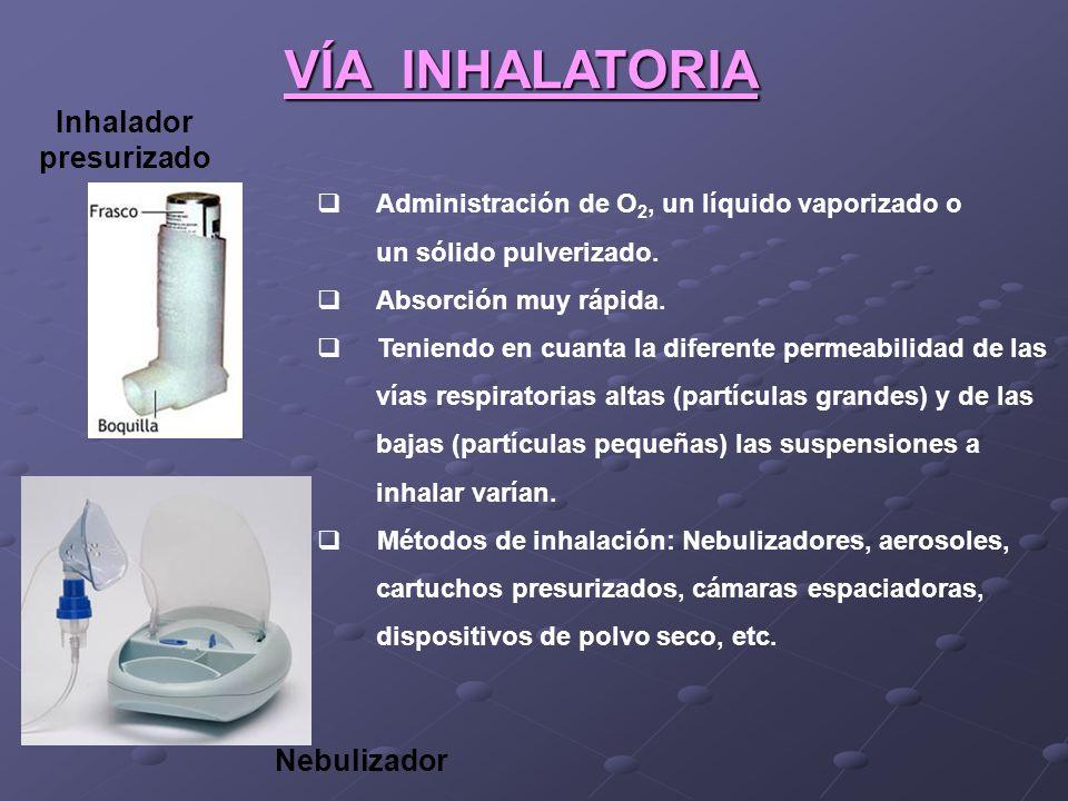 VÍA INHALATORIA Administración de O 2, un líquido vaporizado o un sólido pulverizado. Absorción muy rápida. Teniendo en cuanta la diferente permeabili