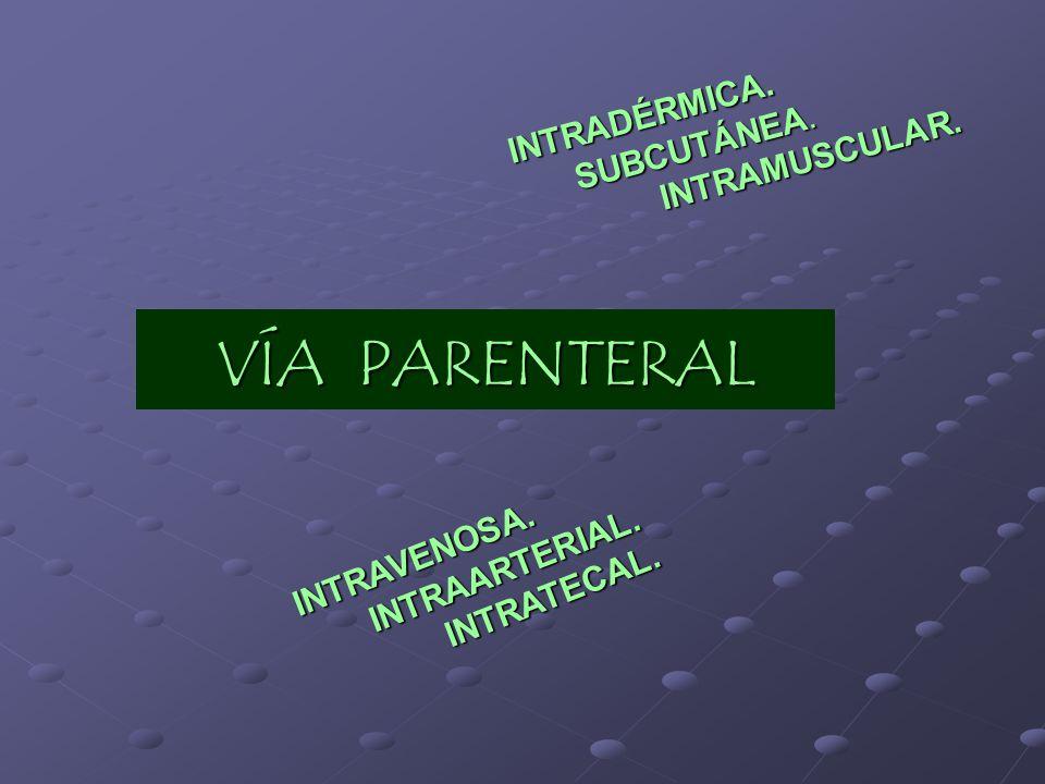 VÍA PARENTERAL INTRADÉRMICA. SUBCUTÁNEA. INTRAMUSCULAR. INTRAVENOSA. INTRAARTERIAL. INTRATECAL.
