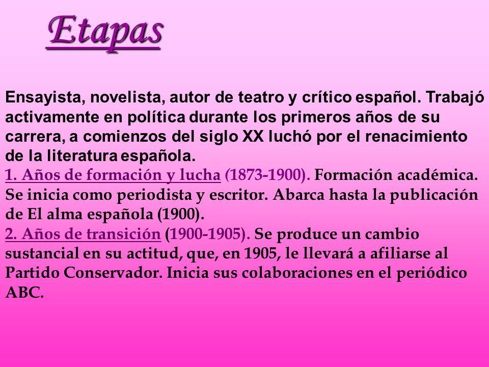 Ensayista, novelista, autor de teatro y crítico español. Trabajó activamente en política durante los primeros años de su carrera, a comienzos del sigl