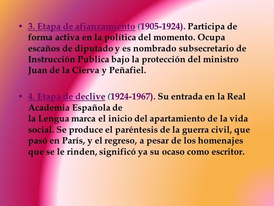 3. Etapa de afianzamiento ( 1905-1924). Participa de forma activa en la política del momento. Ocupa escaños de diputado y es nombrado subsecretario de