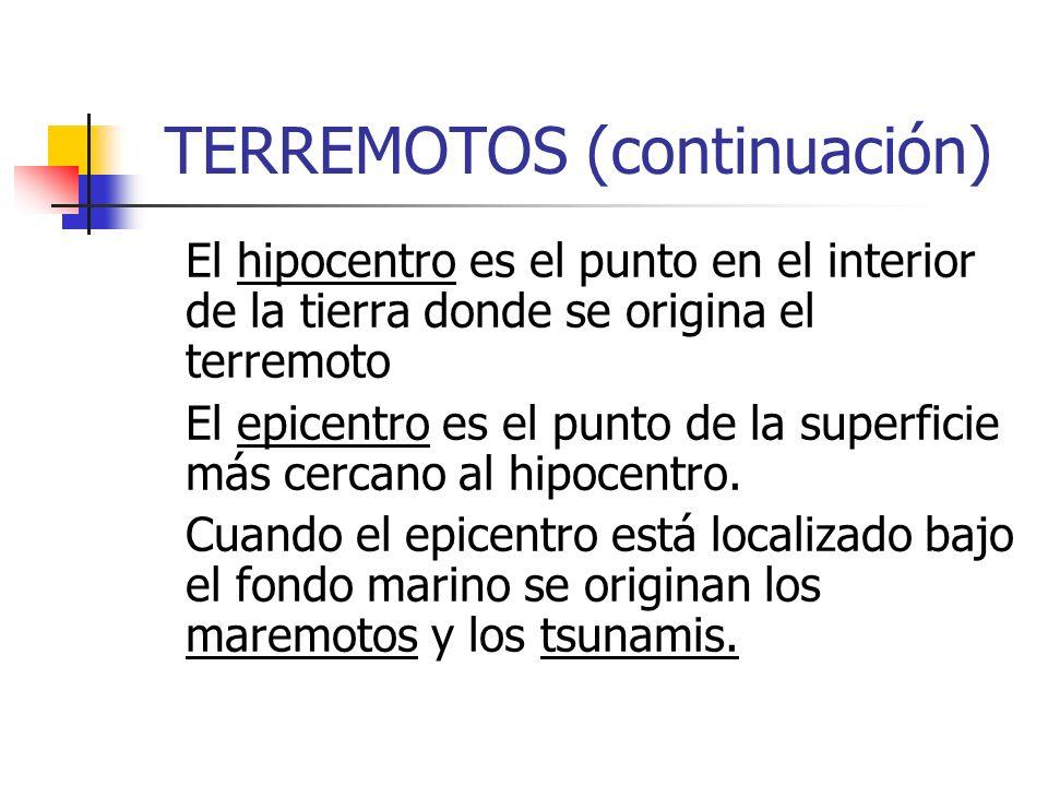 TERREMOTOS (continuación) El hipocentro es el punto en el interior de la tierra donde se origina el terremoto El epicentro es el punto de la superfici