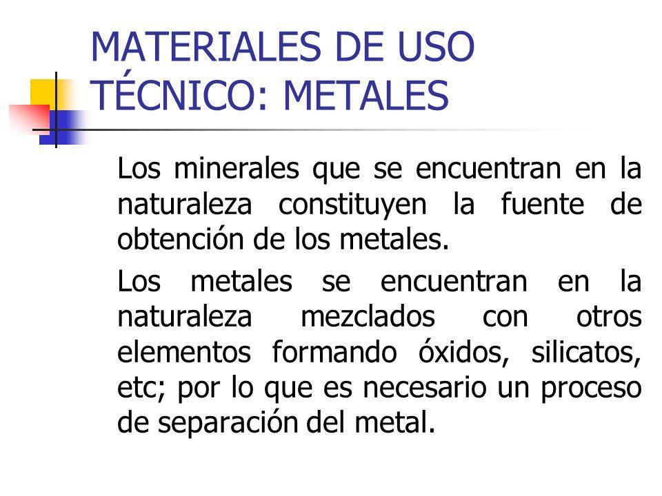 MATERIALES DE USO TÉCNICO: METALES Los minerales que se encuentran en la naturaleza constituyen la fuente de obtención de los metales. Los metales se