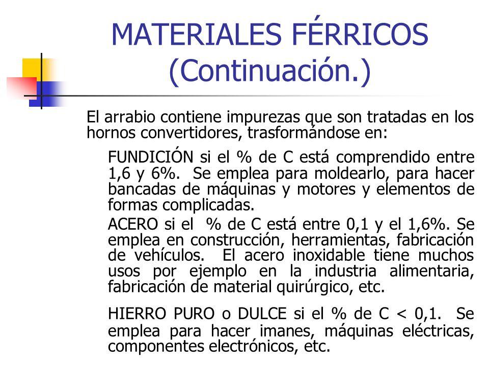 MATERIALES FÉRRICOS (Continuación.) El arrabio contiene impurezas que son tratadas en los hornos convertidores, trasformándose en: FUNDICIÓN si el % d
