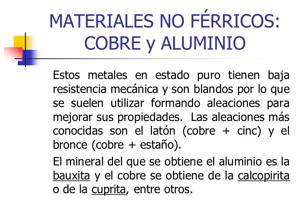 MATERIALES NO FÉRRICOS: COBRE y ALUMINIO Estos metales en estado puro tienen baja resistencia mecánica y son blandos por lo que se suelen utilizar for