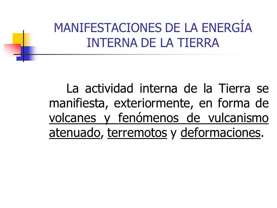 MANIFESTACIONES DE LA ENERGÍA INTERNA DE LA TIERRA La actividad interna de la Tierra se manifiesta, exteriormente, en forma de volcanes y fenómenos de