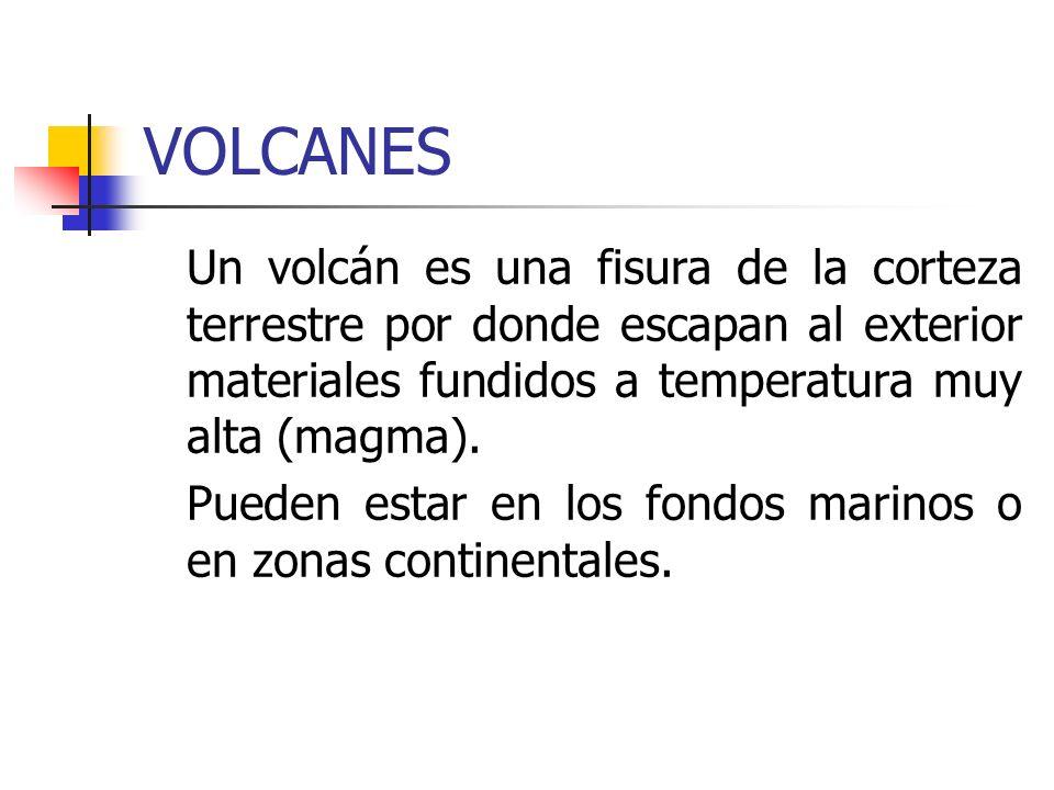 VOLCANES Un volcán es una fisura de la corteza terrestre por donde escapan al exterior materiales fundidos a temperatura muy alta (magma). Pueden esta