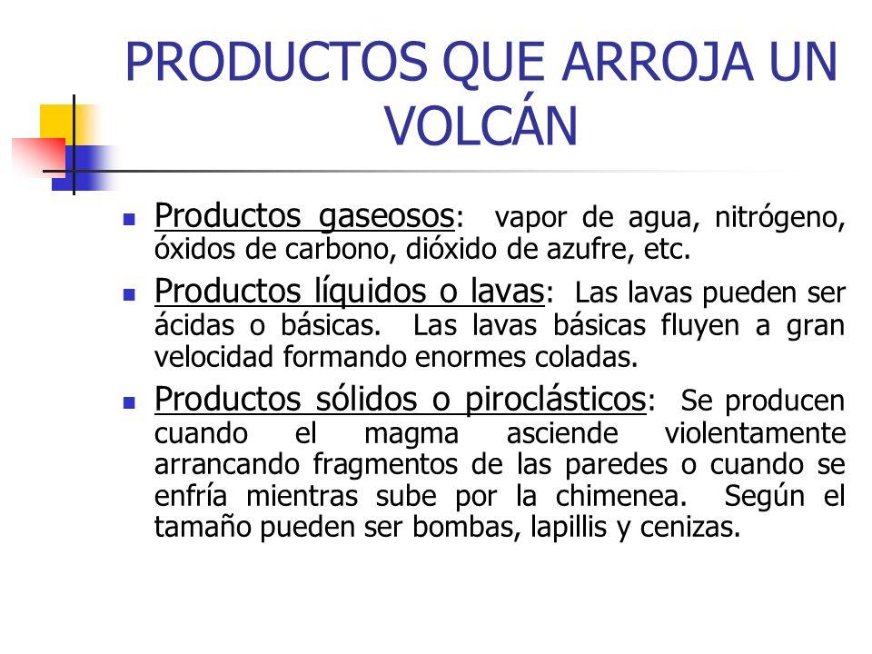 PRODUCTOS QUE ARROJA UN VOLCÁN Productos gaseosos : vapor de agua, nitrógeno, óxidos de carbono, dióxido de azufre, etc. Productos líquidos o lavas :