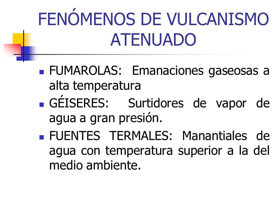 FENÓMENOS DE VULCANISMO ATENUADO FUMAROLAS: Emanaciones gaseosas a alta temperatura GÉISERES: Surtidores de vapor de agua a gran presión. FUENTES TERM