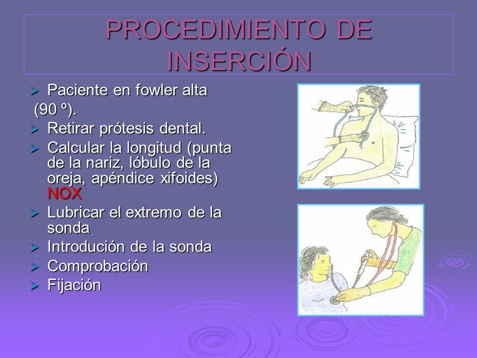 PROCEDIMIENTO DE INSERCIÓN Paciente en fowler alta Paciente en fowler alta (90 º). (90 º). Retirar prótesis dental. Retirar prótesis dental. Calcular