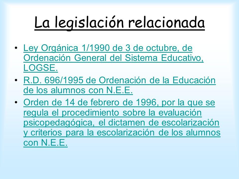 La legislación relacionada Ley Orgánica 1/1990 de 3 de octubre, de Ordenación General del Sistema Educativo, LOGSE.Ley Orgánica 1/1990 de 3 de octubre