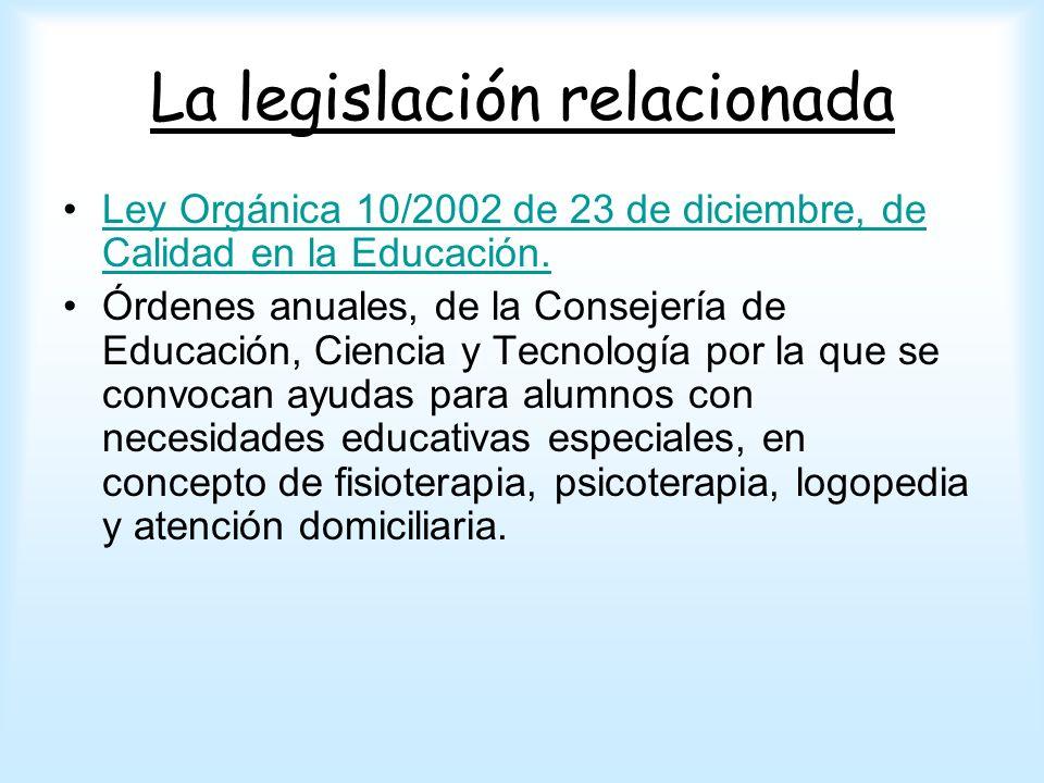 La legislación relacionada Ley Orgánica 10/2002 de 23 de diciembre, de Calidad en la Educación.Ley Orgánica 10/2002 de 23 de diciembre, de Calidad en