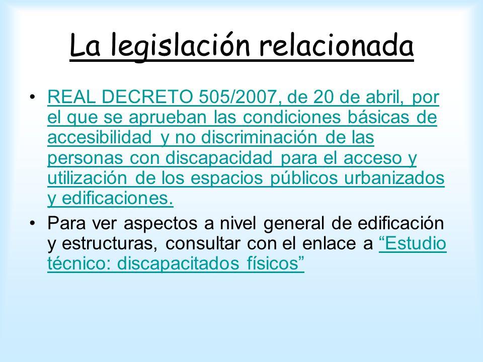 La legislación relacionada REAL DECRETO 505/2007, de 20 de abril, por el que se aprueban las condiciones básicas de accesibilidad y no discriminación