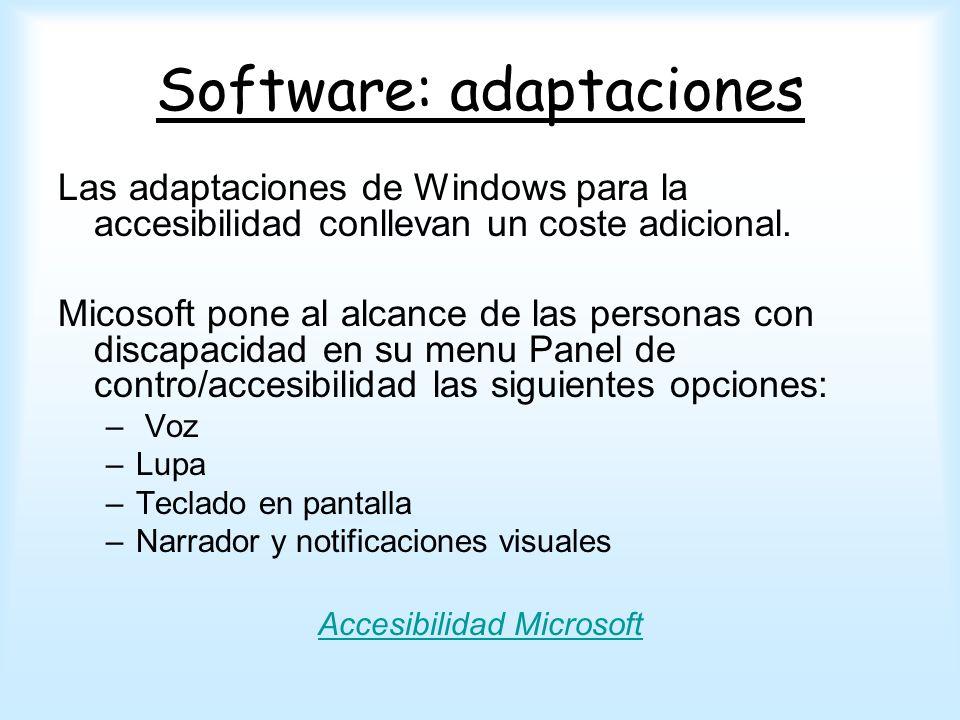 Software: adaptaciones Las adaptaciones de Windows para la accesibilidad conllevan un coste adicional. Micosoft pone al alcance de las personas con di