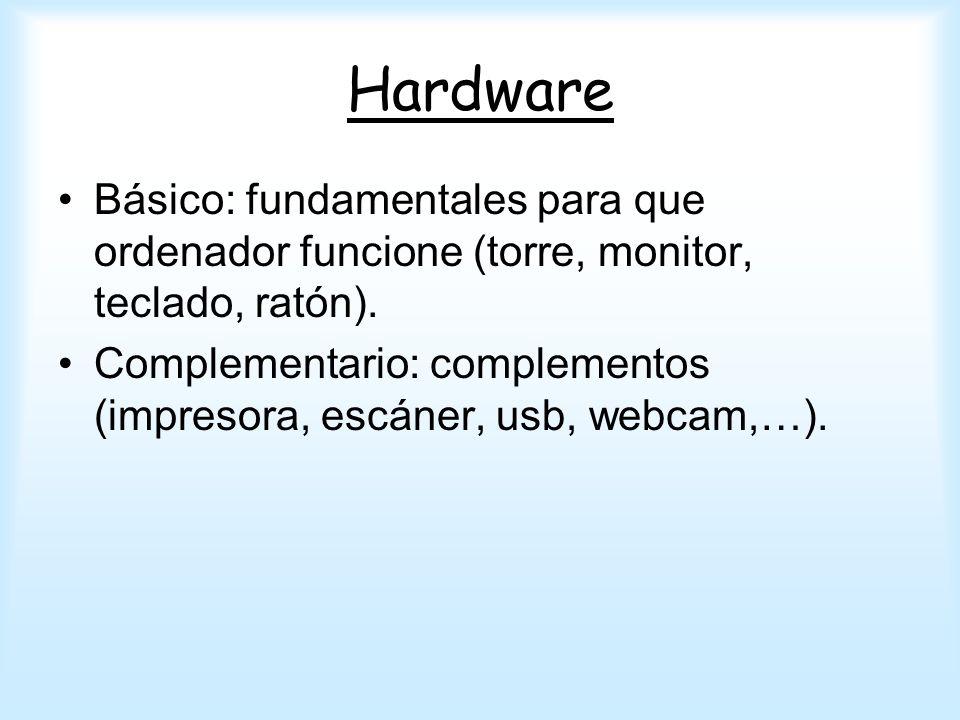 Hardware Básico: fundamentales para que ordenador funcione (torre, monitor, teclado, ratón). Complementario: complementos (impresora, escáner, usb, we