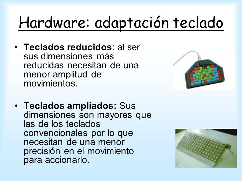 Hardware: adaptación teclado Teclados reducidos: al ser sus dimensiones más reducidas necesitan de una menor amplitud de movimientos. Teclados ampliad