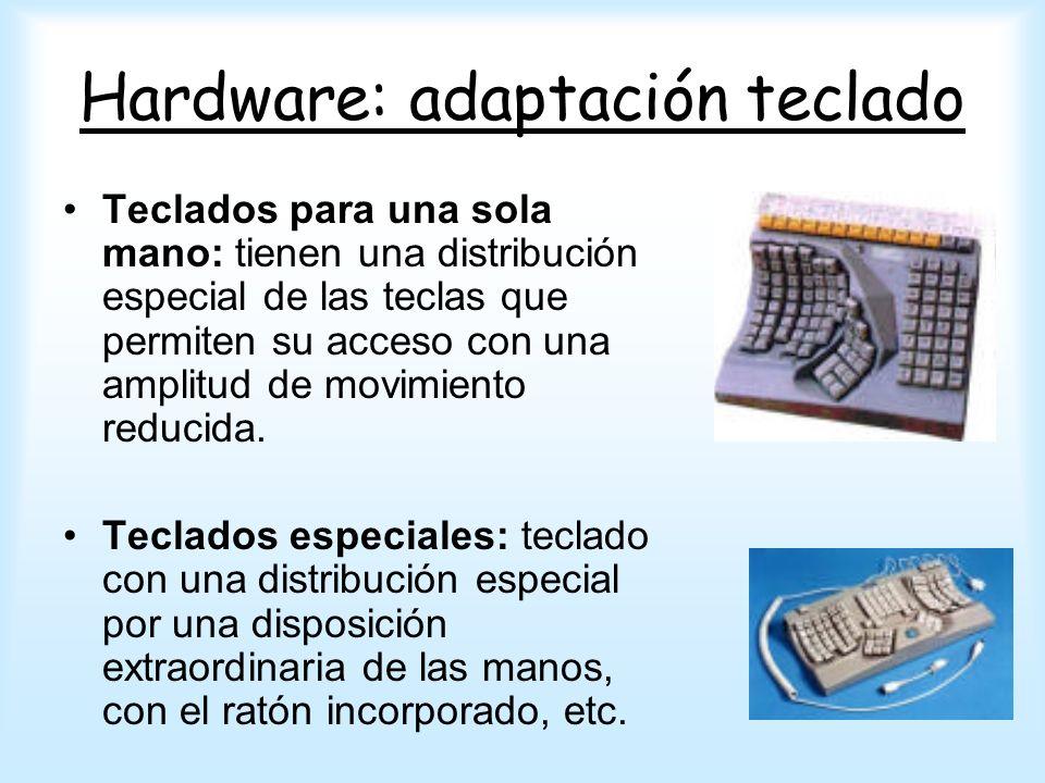 Hardware: adaptación teclado Teclados para una sola mano: tienen una distribución especial de las teclas que permiten su acceso con una amplitud de mo