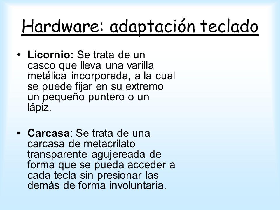 Hardware: adaptación teclado Licornio: Se trata de un casco que lleva una varilla metálica incorporada, a la cual se puede fijar en su extremo un pequ
