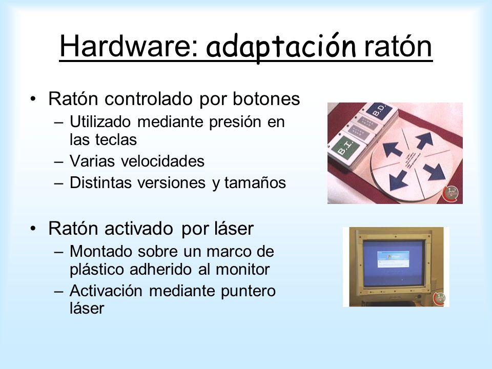 Ratón controlado por botones –Utilizado mediante presión en las teclas –Varias velocidades –Distintas versiones y tamaños Ratón activado por láser –Mo