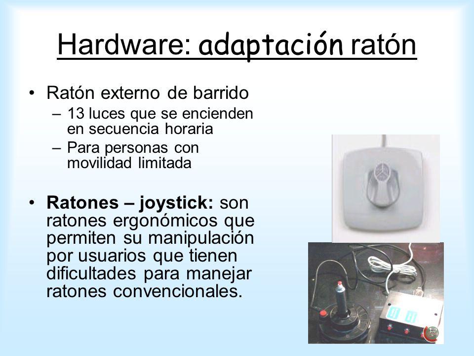 Ratón externo de barrido –13 luces que se encienden en secuencia horaria –Para personas con movilidad limitada Ratones – joystick: son ratones ergonóm