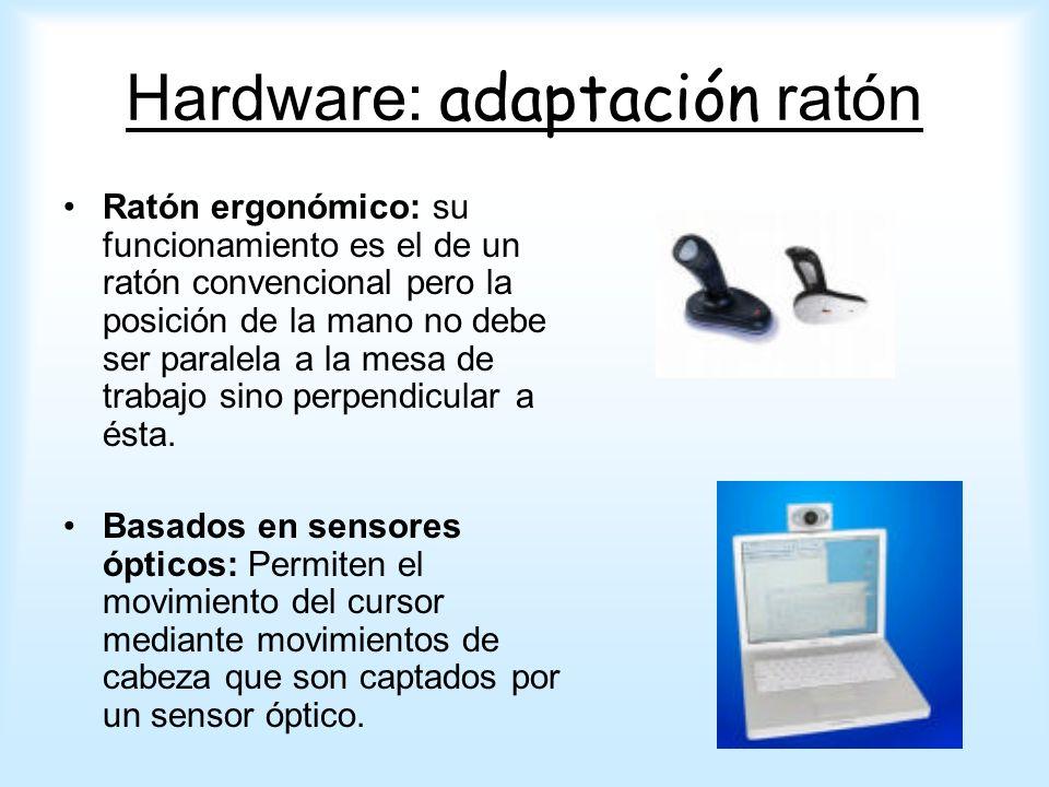 Ratón ergonómico: su funcionamiento es el de un ratón convencional pero la posición de la mano no debe ser paralela a la mesa de trabajo sino perpendi