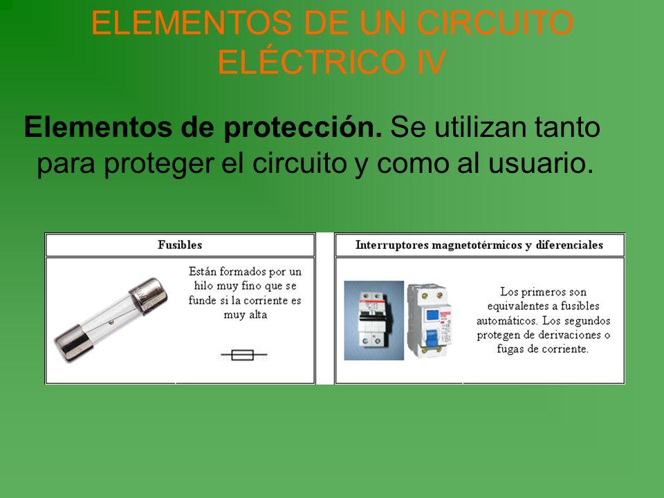 Elementos de protección. Se utilizan tanto para proteger el circuito y como al usuario. ELEMENTOS DE UN CIRCUITO ELÉCTRICO IV