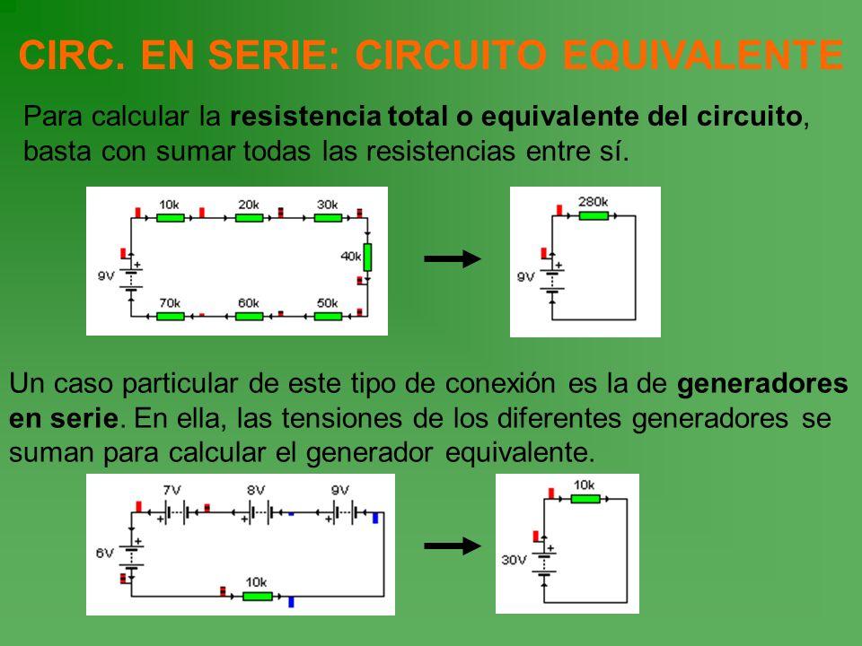 CIRC. EN SERIE: CIRCUITO EQUIVALENTE Para calcular la resistencia total o equivalente del circuito, basta con sumar todas las resistencias entre sí. U