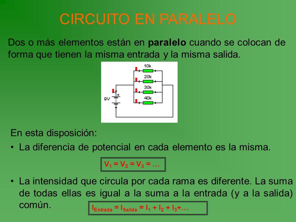 CIRCUITO EN PARALELO Dos o más elementos están en paralelo cuando se colocan de forma que tienen la misma entrada y la misma salida. En esta disposici