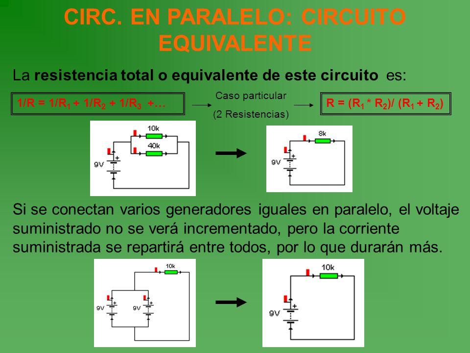 CIRC. EN PARALELO: CIRCUITO EQUIVALENTE La resistencia total o equivalente de este circuito es: Si se conectan varios generadores iguales en paralelo,