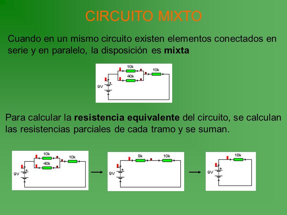 CIRCUITO MIXTO Cuando en un mismo circuito existen elementos conectados en serie y en paralelo, la disposición es mixta Para calcular la resistencia e