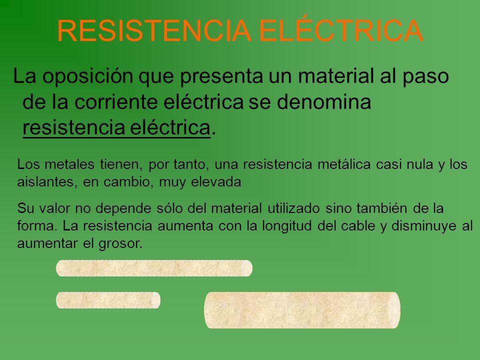 RESISTENCIA ELÉCTRICA La oposición que presenta un material al paso de la corriente eléctrica se denomina resistencia eléctrica. Los metales tienen, p