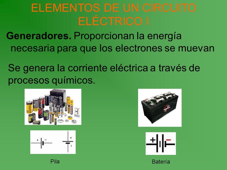 ELEMENTOS DE UN CIRCUITO ELÉCTRICO I Generadores. Proporcionan la energía necesaria para que los electrones se muevan Se genera la corriente eléctrica