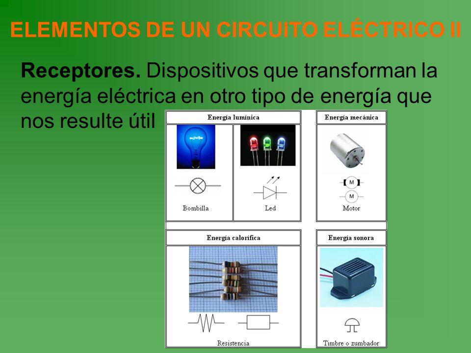 ELEMENTOS DE UN CIRCUITO ELÉCTRICO II Receptores. Dispositivos que transforman la energía eléctrica en otro tipo de energía que nos resulte útil