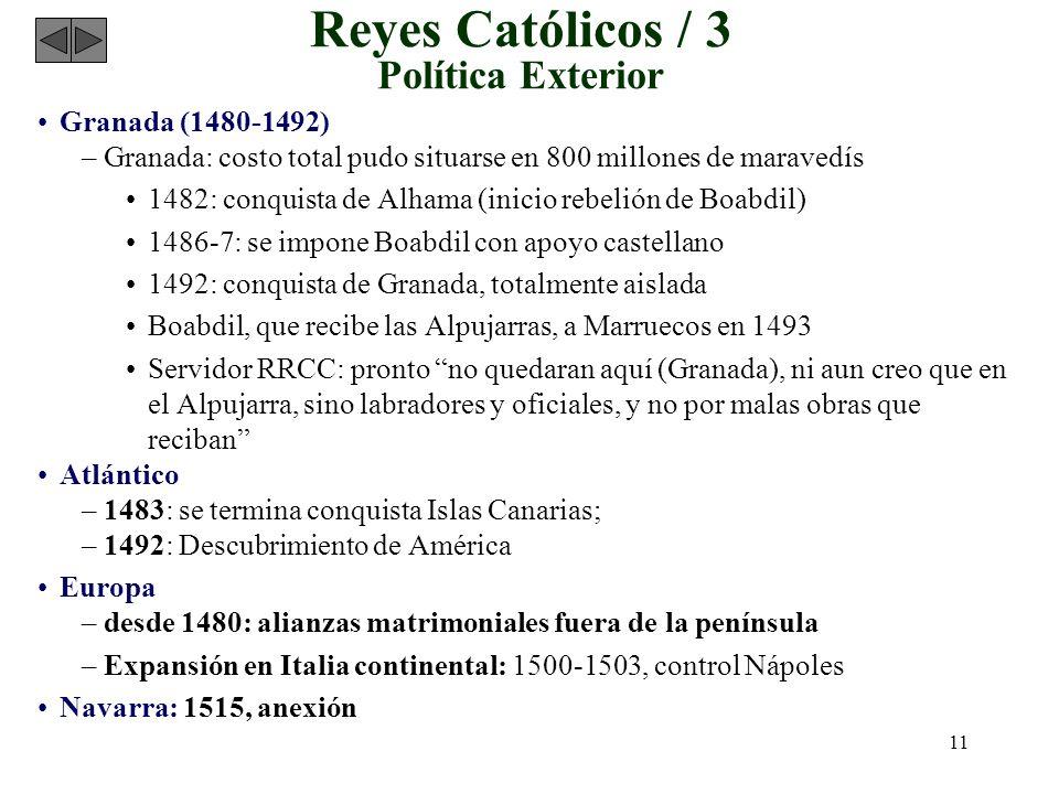 11 Reyes Católicos / 3 Política Exterior Granada (1480-1492) –Granada: costo total pudo situarse en 800 millones de maravedís 1482: conquista de Alham