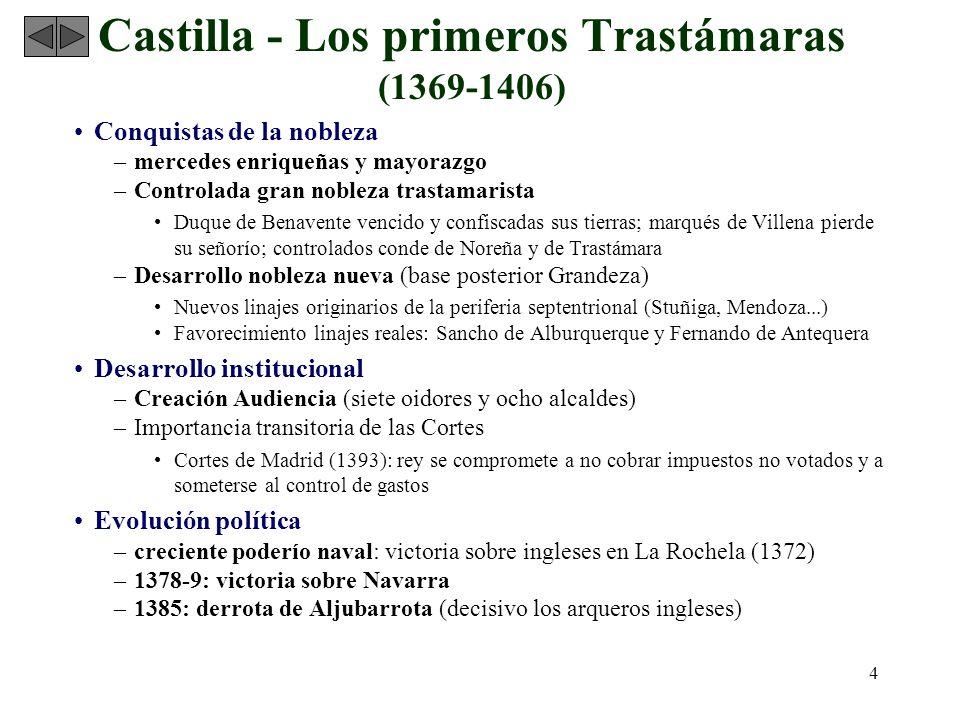4 Castilla - Los primeros Trastámaras (1369-1406) Conquistas de la nobleza –mercedes enriqueñas y mayorazgo –Controlada gran nobleza trastamarista Duq