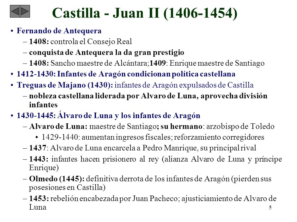 5 Castilla - Juan II (1406-1454) Fernando de Antequera –1408: controla el Consejo Real –conquista de Antequera la da gran prestigio –1408: Sancho maes
