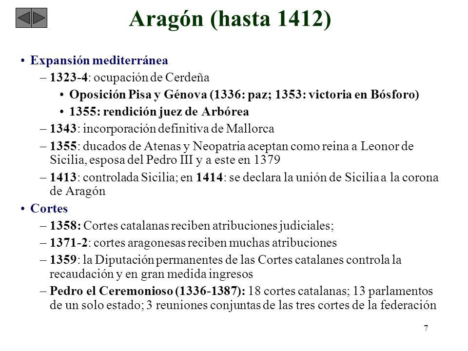 7 Aragón (hasta 1412) Expansión mediterránea –1323-4: ocupación de Cerdeña Oposición Pisa y Génova (1336: paz; 1353: victoria en Bósforo) 1355: rendic