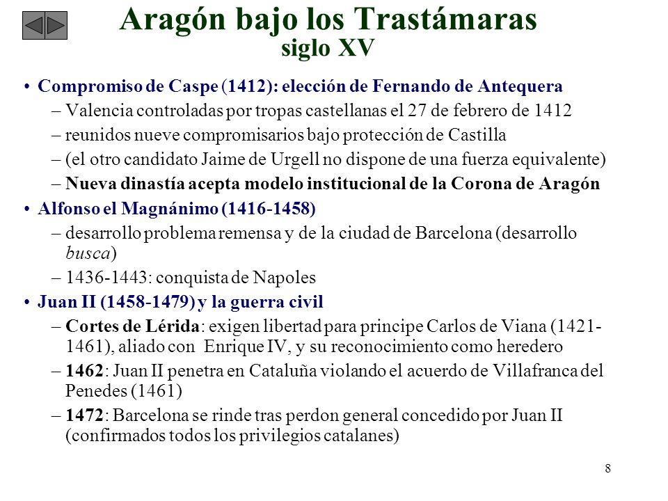 8 Aragón bajo los Trastámaras siglo XV Compromiso de Caspe (1412): elección de Fernando de Antequera –Valencia controladas por tropas castellanas el 2