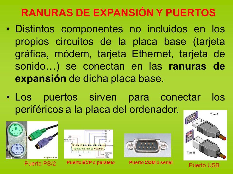 RANURAS DE EXPANSIÓN Y PUERTOS Distintos componentes no incluidos en los propios circuitos de la placa base (tarjeta gráfica, módem, tarjeta Ethernet,
