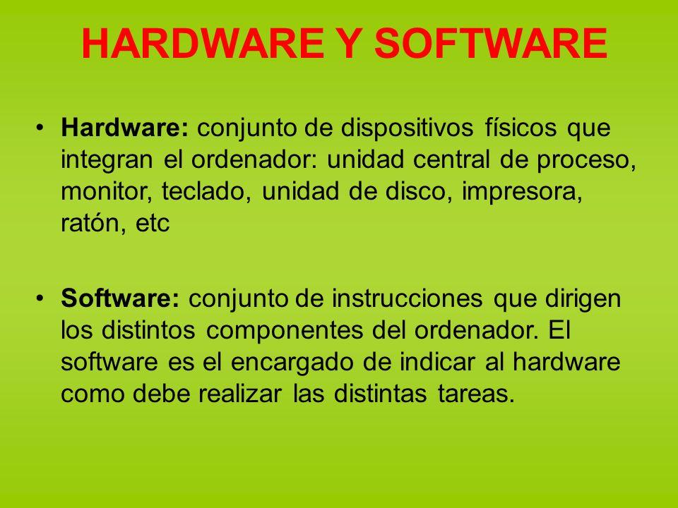 HARDWARE Y SOFTWARE Hardware: conjunto de dispositivos físicos que integran el ordenador: unidad central de proceso, monitor, teclado, unidad de disco